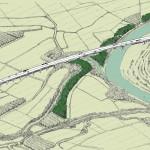 Schizzo prospettico viadotto sul fiume Sesia