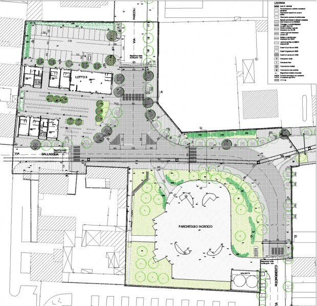 Planimetria del progetto esecutivo delle Opere di urbanizazzione e della Via dell'Acqua, Piazza San Matteo