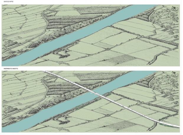 Schizzo prospettico viadotto sul fiume Po