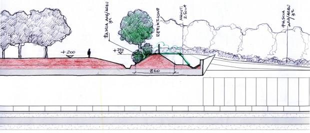 Schizzo di progetto, sezione con duna