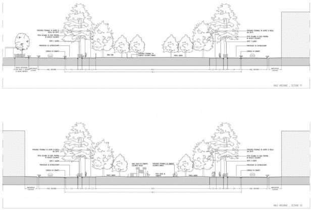 Sezioni di progetto di via Argonne