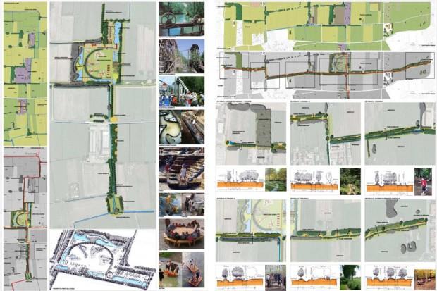 Il Parco dell'Acqua e la fascia arboreo arbustiva con percorsi e aree attrezzate