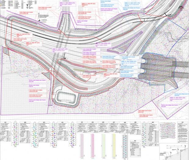 Trangenziale di Varese V1, planimetria mitigazione ambientale imbocco ovest galleria naturale Morazzone
