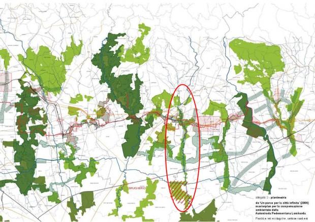 Stralcio del masterplan per la compensazione ambientale della Pedemontana (2008)