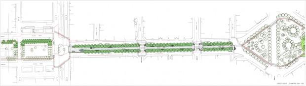 Planimetria di progetto, collegamento Dateo-Plebisciti-Argonne-Susa