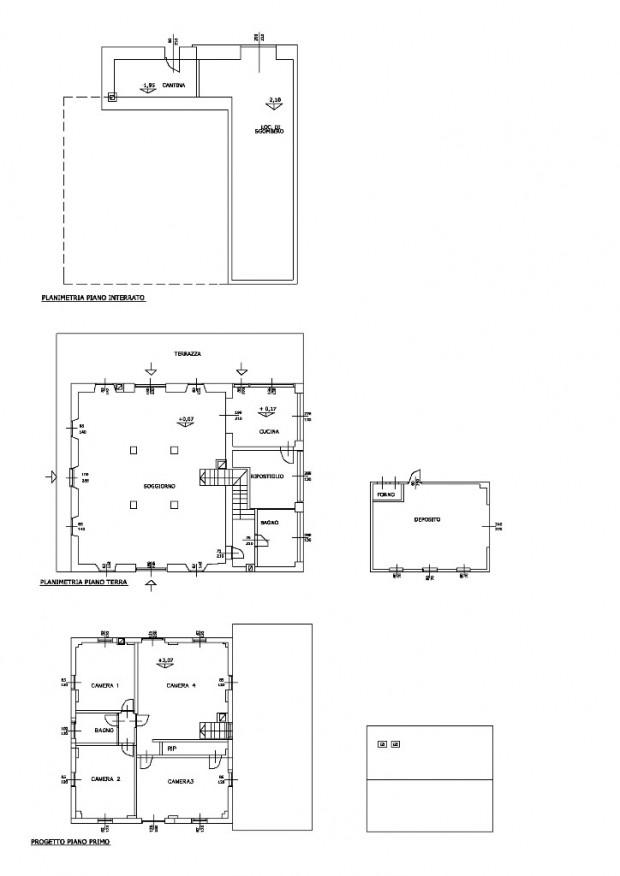 Planimetrie dei tre livelli