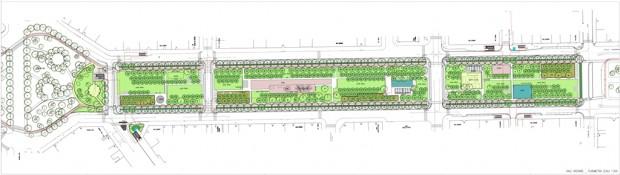 Planimetria di progetto di viale Argonne