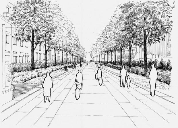 Prospettiva di progetto dall'ingresso della metropolitana in piazza Dateo