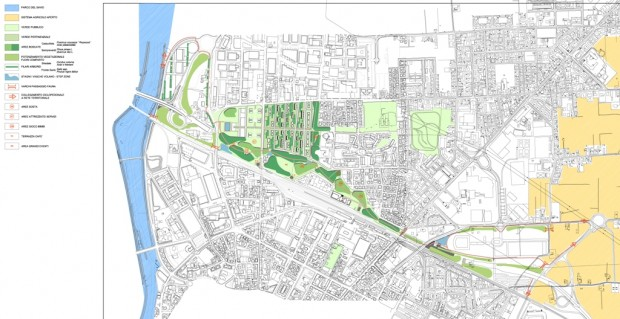Schema del verde di progetto messo a sistema con l'esistente
