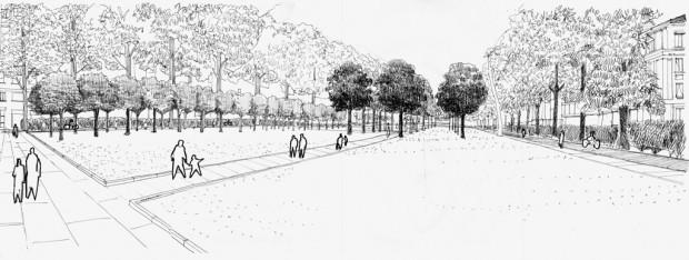 Prospettiva di progetto da piazzale Susa